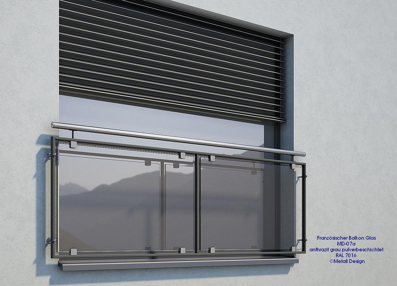 Französischer Balkon Glas Md07ap Anthrazit Grau Ral 7016