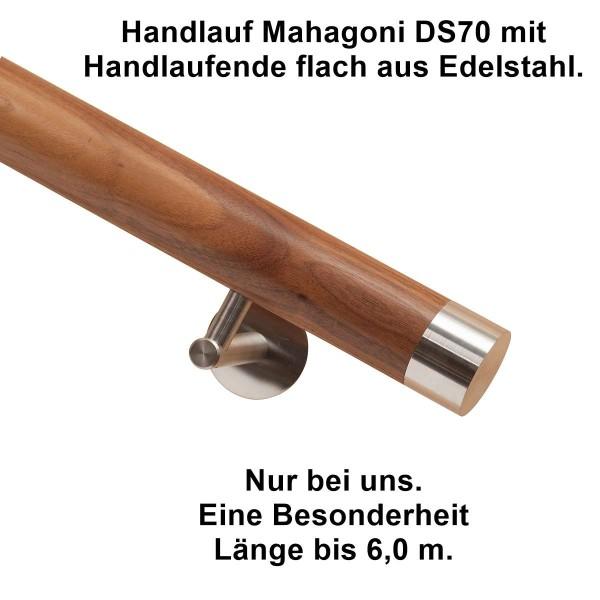 Handlauf Mahagoni DS70 mit Handlaufende Edelstahl flach.