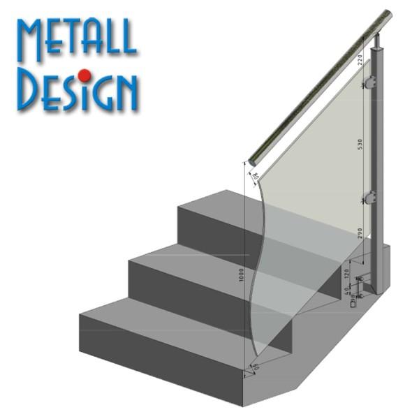 Glasgeländer Edelstahl Pfosten Vierkantrohr VGST-03 Endpfosten Treppengeländer seitliche Montage