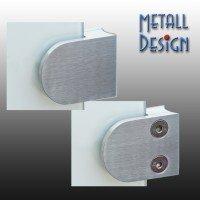 Glashalter / Plattenhalter 40 x 50 mm, runder Anschluss, 33,7 - 48,3 mm, B01