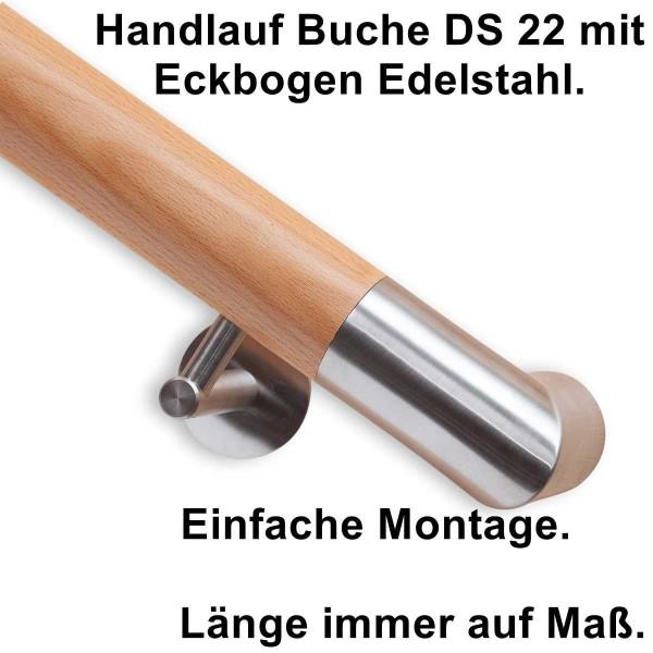 Handlauf Buche DS22 mit Handlaufenden Edelstahl Eckbogen.