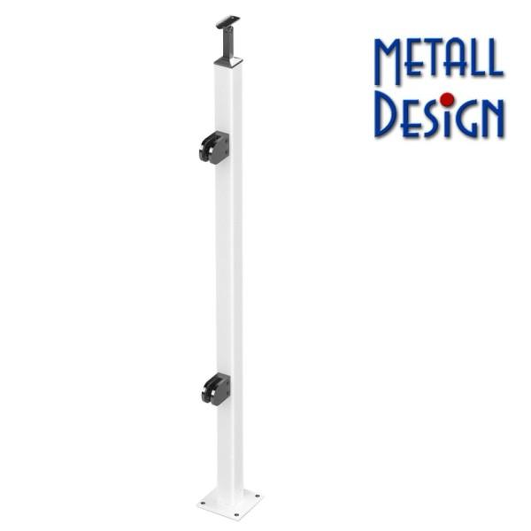 Geländerpfosten pulverbeschichtet weiß Vierkantrohr Endpfosten RAL9016