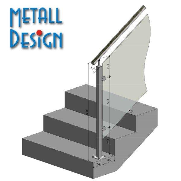 Geländerpfosten für Treppe mit Vierkantrohr für Glasgeländer