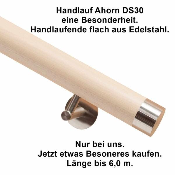 Handlauf Ahorn Holz DS30 aus Ahorn mit Handlaufenden Edelstahl flach