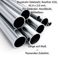 Edelstahlrohr 42,4 x 2,0 mm, V2A, hochwertig geschliffen, Länge auf Maß.