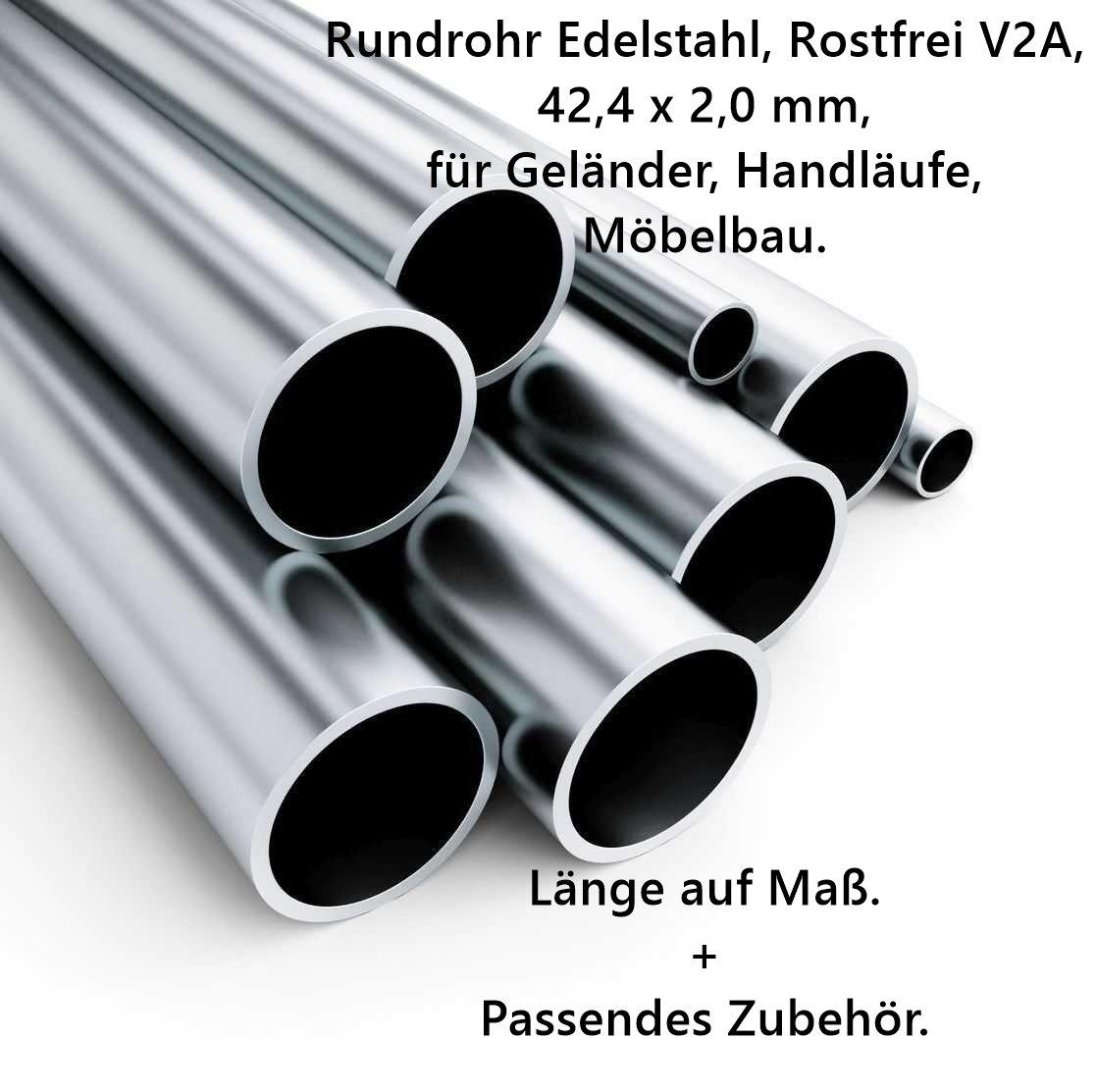 Edelstahl Handlauf Geländer 1,5 Meter Rohr 42,4mm Ø V2A TOP