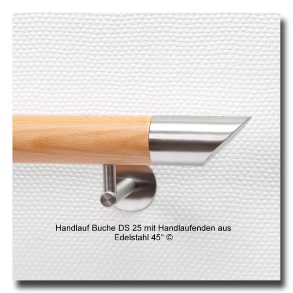Handlauf Buche DS25 mit Handlaufenden Edelstahl 45°