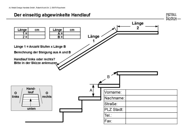 Angled portion side bent handrail stainless steel