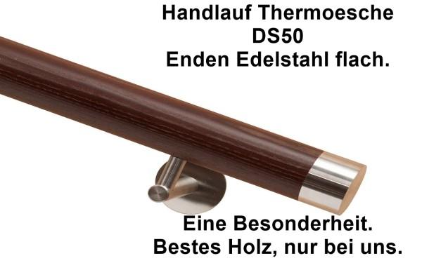Handlauf Holz aus Thermoesche DS50 mit Handlaufenden aus Edelstahl flach