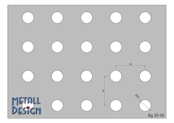 Lochblech Edelstahl rund glocht RG-20-50 für Lochblechgeländer.
