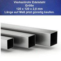 Vierkantrohr-Edelstahl 120 x 120 x 2 mm Zuschnitte auf Maß