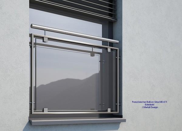 Französischer Balkon Glas, Edelstahl MD 07i