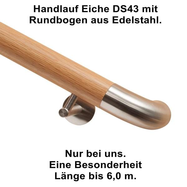 Handlauf Eiche DS43 mit Rundbogen aus Edelstahl