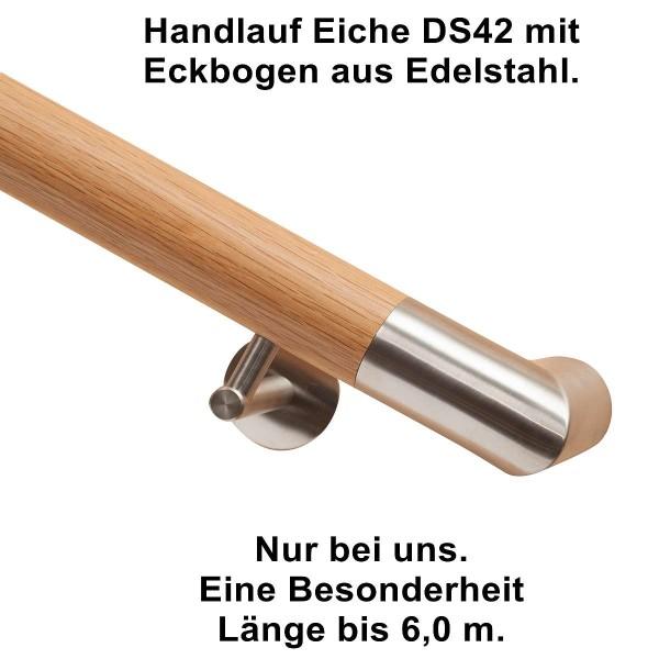 Handlauf Eiche DS42 mit Eckbogen Edelstahl