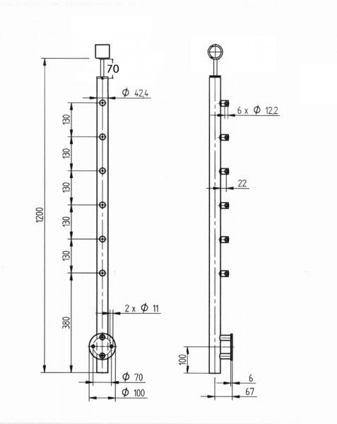 Geländerpfosten Edelstahl Relinggeländer - 6 Querstabhalter-Kugelring