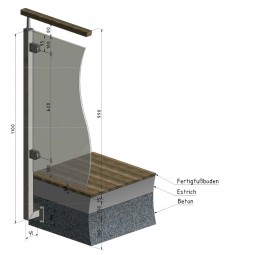 Geländerpfosten Edelstahl Vierkantrohr VS4 für Geländer Glas, seitliche Montage links.