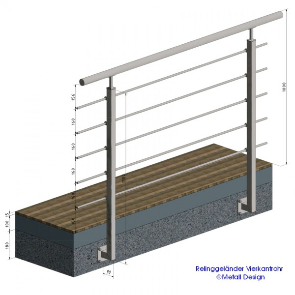 gel nderpfosten edelstahl vierkantrohr relinggel nder balkongel nder relinggel nder bausatz. Black Bedroom Furniture Sets. Home Design Ideas