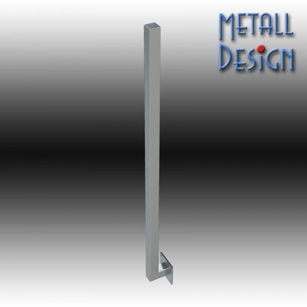 Geländerpfosten Vierkantrohr, seitliche Befestigung, Basis VS1, gefertigt auf Maß