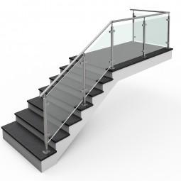 Geländerpfosten Edelstahl Vierkantrohr T2 Glasgeländer Treppe