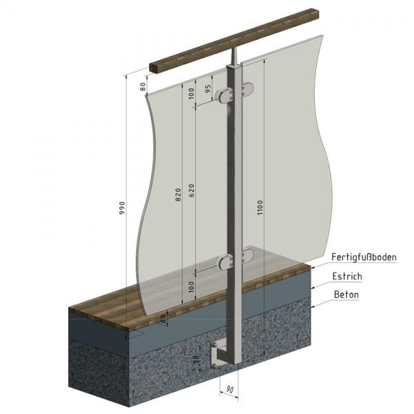 Glasgeländer Edelstahl Pfosten Vierkantrohr VS2 Mittelpfosten seitliche Montage