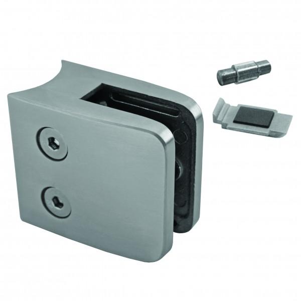 Glashalter Edelstahl B26 für Geländerpfosten von 42,4 mm. Glas von 8,00 mm - 12,76 mm