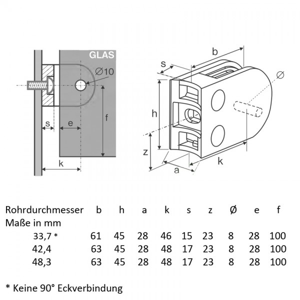 Glashalter Edelstahl Bauform B03 runder Anschluss