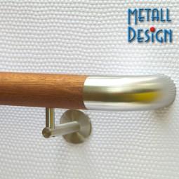 Handlauf Mahagoni geölt DS73 mit beidseitigen Edelstahlbögen rund