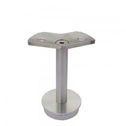 Rohrstütze Edelstahlrohr rund mit Montageplatte eckig 45 Grad für Handlauf Edelstahl