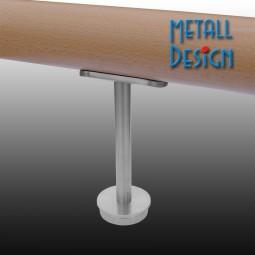 Rohrstütze Edelstahlrohr rund mit Montageplatte lang für Handlauf Holz