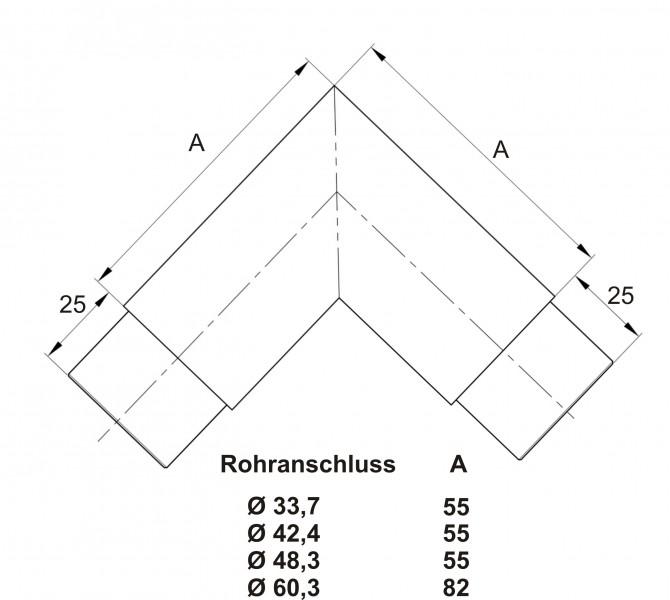Handlauf und Geländereckbogen technische Zeichnung
