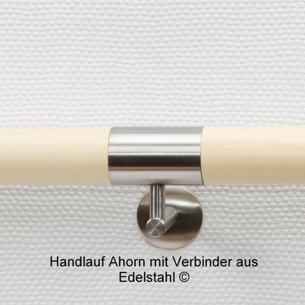 Handlauf Ahorn mit Edelstahlverbinder