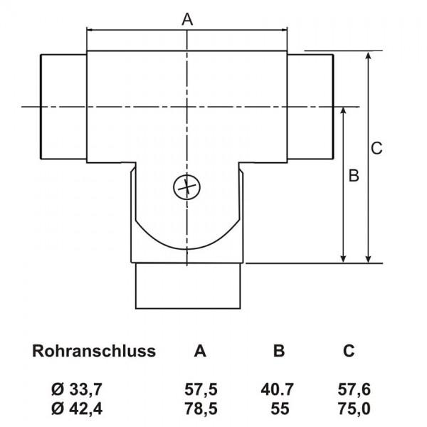 Handlauf Edelstahl Geländer T-Verbinder schwenkbar