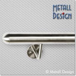Handlauf Edelstahl DS02 auf Maß gefertigt mit runden Endkappen