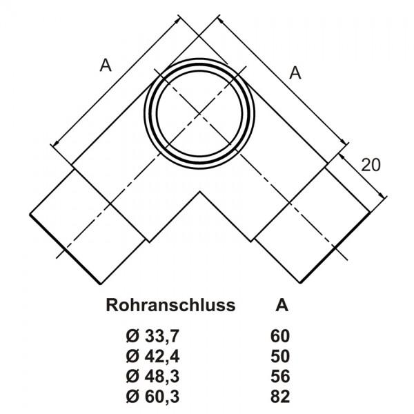 Handlauf Edelstahl-Rohrbogen 3-seitig aus Edelstahl