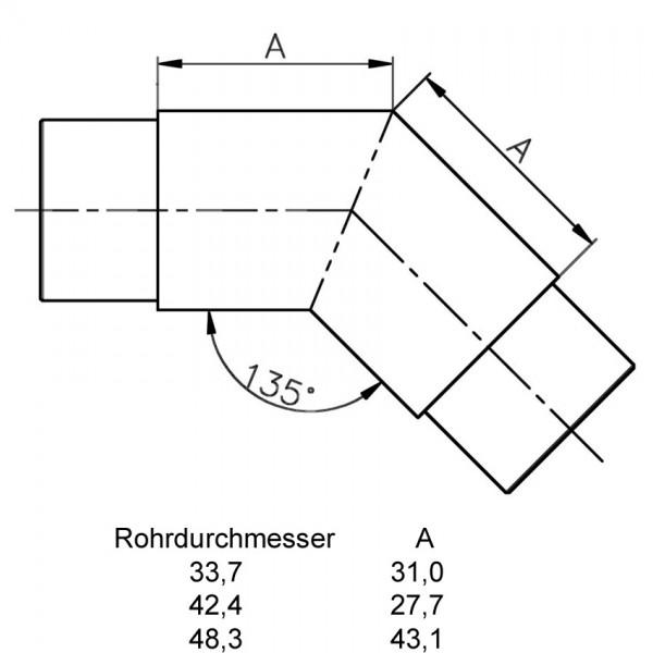 Handlauf Rohrverbinder 45° Edelstahl