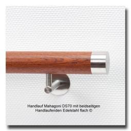 Handlauf Mahagoni DS70 Handlaufenden Edelstahl flach