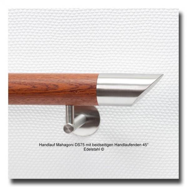 Handlauf Holz Mahagoni DS75 mit beidseitigen Handlaufenden Edelstahl