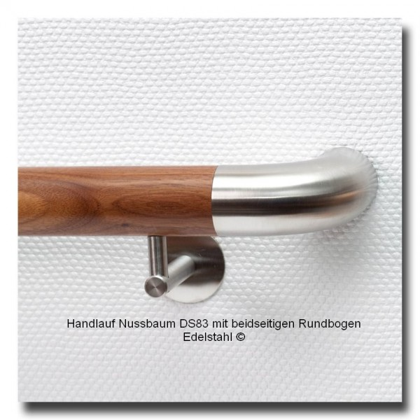 Handlauf Nussbaum DS83, mit beidseitigen Handlaufbogen Edelstahl