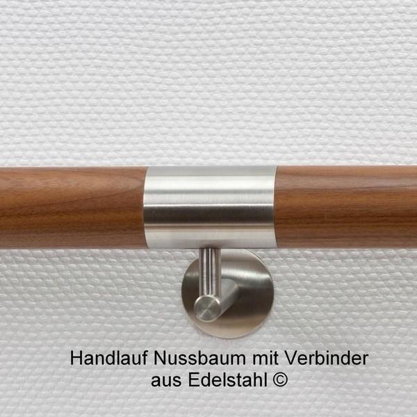 Handlauf Nussbaum mit Edelstahlverbinder
