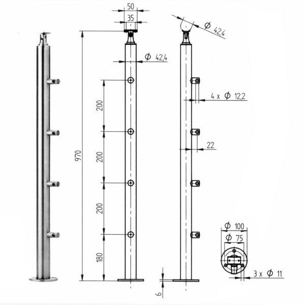 Geländerpfosten Edelstahl Relinggeländer - 4 Querstabhalter