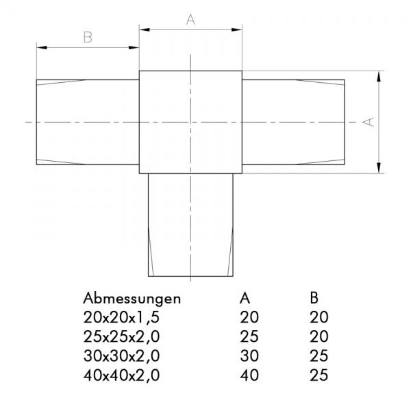 Vierkantrohr-Edelstahl-T-Verbinder